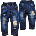 3964 jeans winter baby  boys  Double-deck warm Thick fleece and denim  jeans pants baby kids fashion navy blue new
