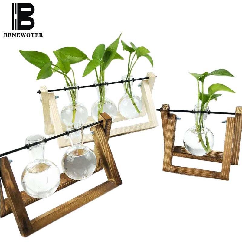Креативная деревянная полка ваза прозрачная стеклянная ваза Садоводство цветочное растение горшок украшения ремесла вазы Гидропоника