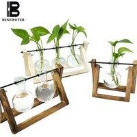 Creative Wood Shelf Vase Transparent Glass Vase Gardening Flower Plant Pot Decoration Crafts Vases Hydroponics Scindapsus Pot