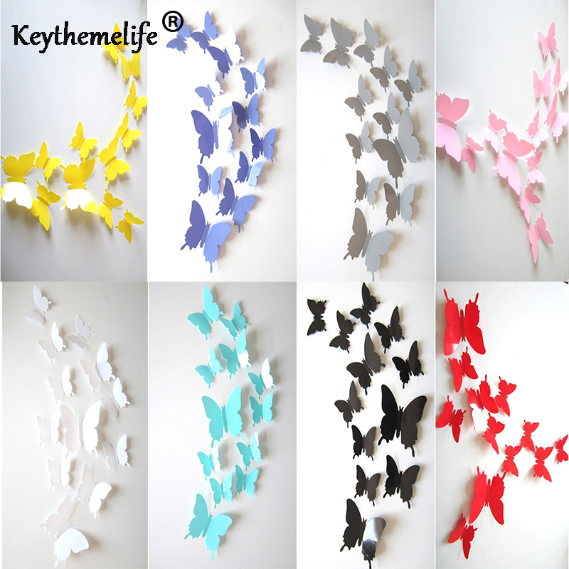 Butterfly Decoration Wallpaper Wall-Stickers Bedroom Living-Room Home Fridage 12pcs/Set
