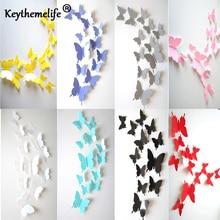 12 unids/set pegatinas de mariposa para pared 3D mariposas dormitorio sala de estar decoración de Fridage papel pintado Dropshipping