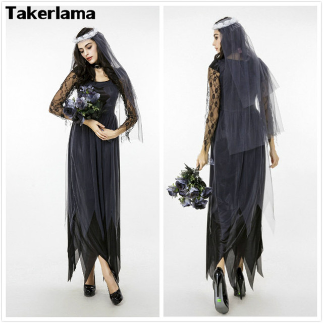 takerlama lace ghost bride halloween carnival costume women cosplay costume medieval victorian dresses zombie bride vestidos