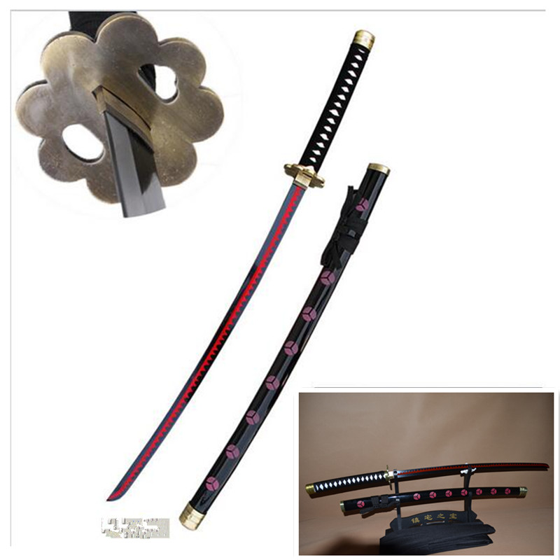 Cosplay Anime One Piece Zoro Sword Black ShusuiSandai Katana Real Steel Blade Red Plating Decorative high quality Free Shipping image