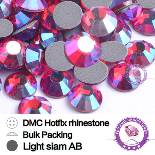 Light Siam AB DMC Hotfix Rhinestones Wholesale Crystals Stones Flatback Machine Cut Glass Bulk Packing Strass Garment Dress