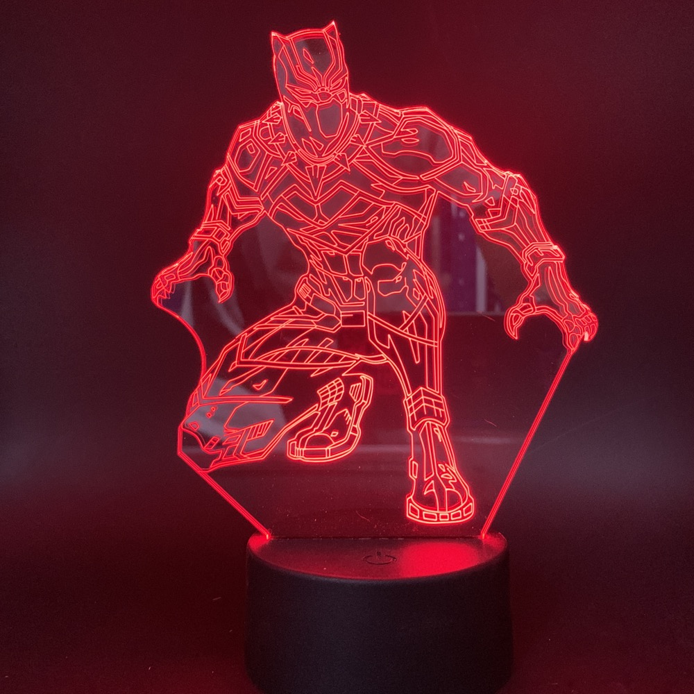 3d Led Night Light Marvel Superhero Black Panther Action Figure for Office Room Decor Nightlight Gift for Kids Child Table Lamp in LED Night Lights from Lights Lighting