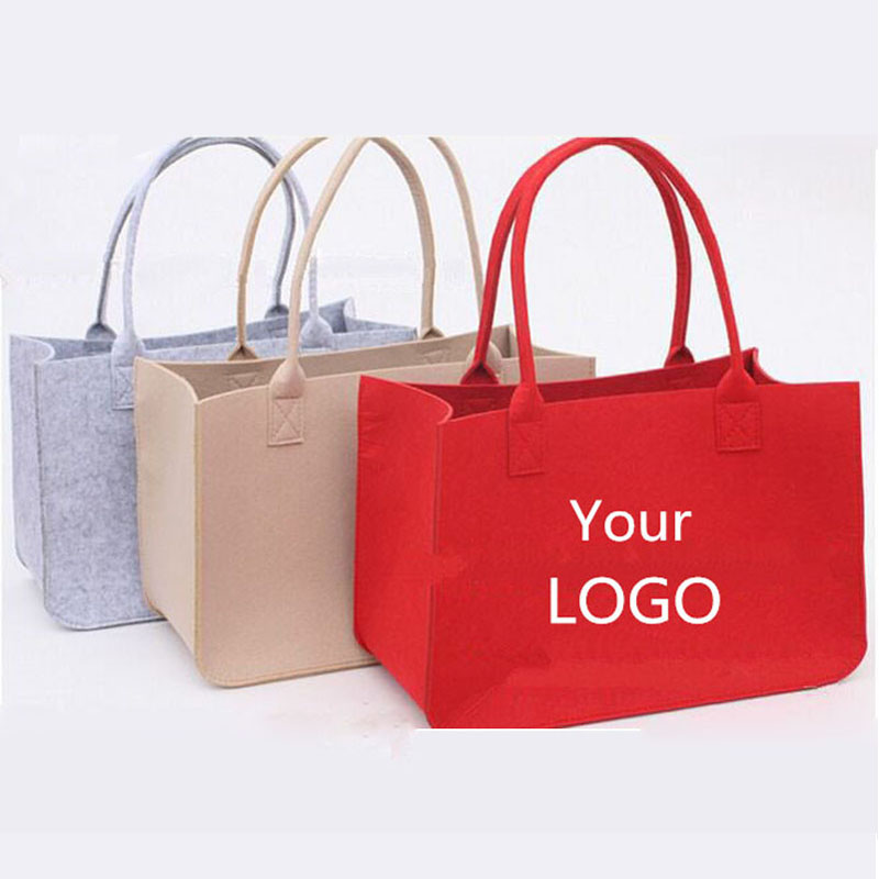 wholesale 500pcs/lot custom printed company logo recycle Wool Felt Fabric reusable shopping bags gift boutique eco bags ads