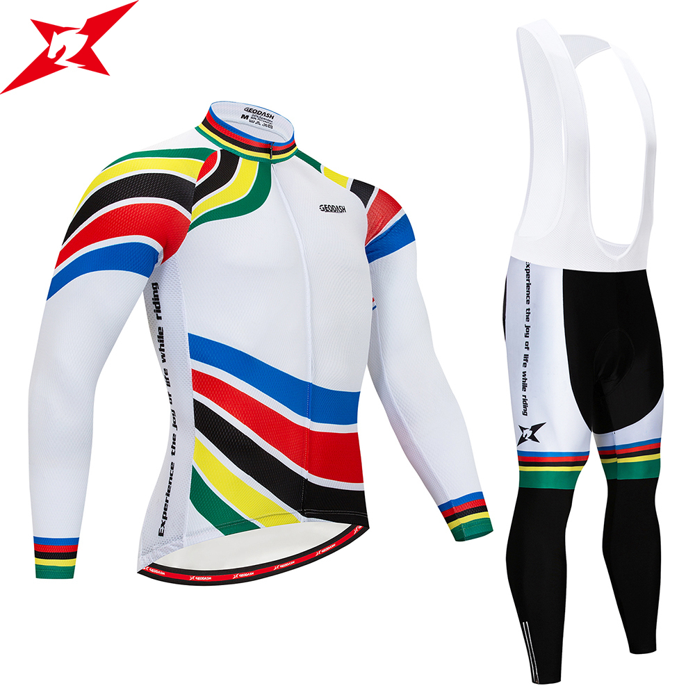 GEODASH High Quality Cycling Jersey Set Breathable Complete Cycling 2019 Quick Dry Mens Cycling Uniforms GEL