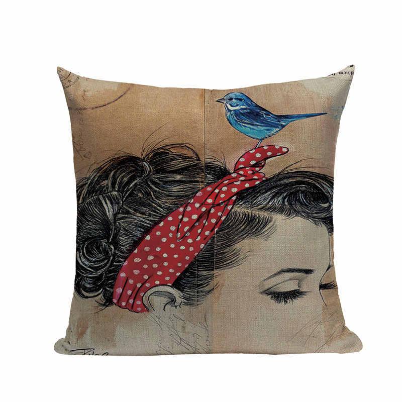 Giornale Sfondo Vintage Stile Decorativo Coperte e Plaid Cuscini Donna Nuda di Arte di Cotone di Tela Fodere per Cuscini ragazza Divano di Casa Almofadas
