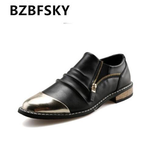 2018 Hohe Qualität Leder Herren Kleid Schuhe Zapatillas Hombre Zip Oxford Schuhe Für Männer Formale Hochzeitsschuhe Goldene Bootsschuhe Mann