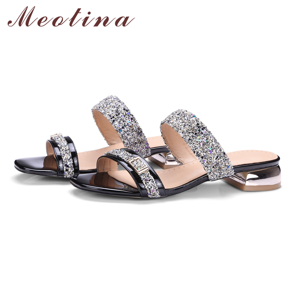 Home   Meotina Women Sandals Summer 2017 Women Slides Glitter Low Heel  Slippers Causal Beach Shoes Ladies Sandals Gold Large Size 9 10. Previous.  Next 264159deb8c9