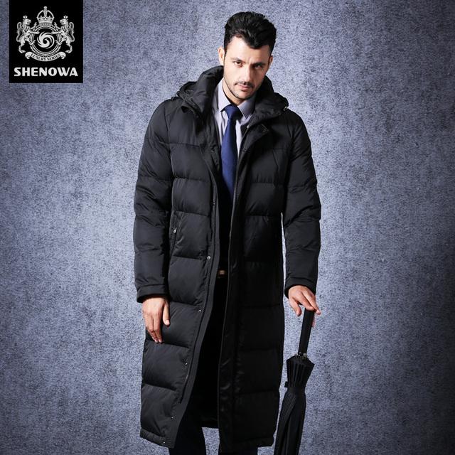 Novatex moda comercial abajo de la capa masculina engrosamiento negro delgado diseño largo sobre la rodilla más el tamaño