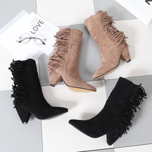 DISCOUNT!!! ON SALE woman low spike heel tassel ankle boots black apricot short woman fringe boots все цены