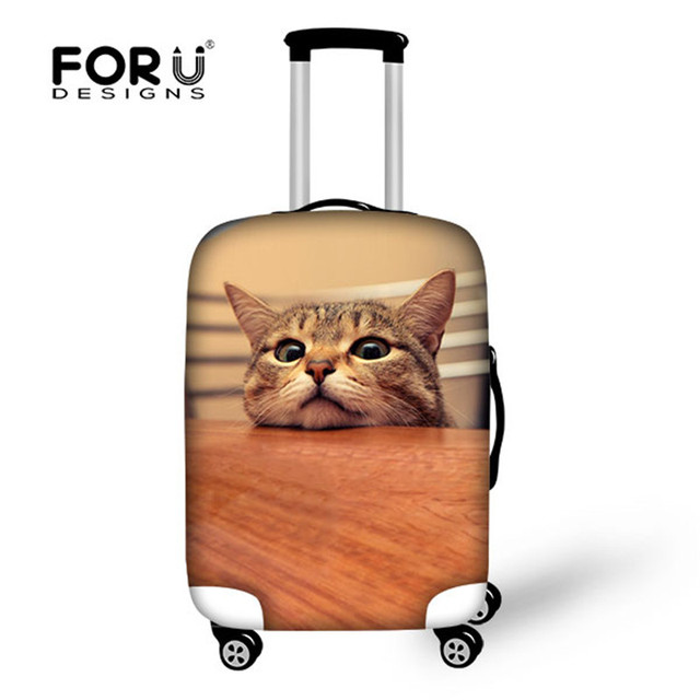 FORUDESIGNS Custom Elastic Luggage Protector Cover Cute Animal Cat Waterproof Travel Suitcase Luggage Cover With Zipper 6 Colors
