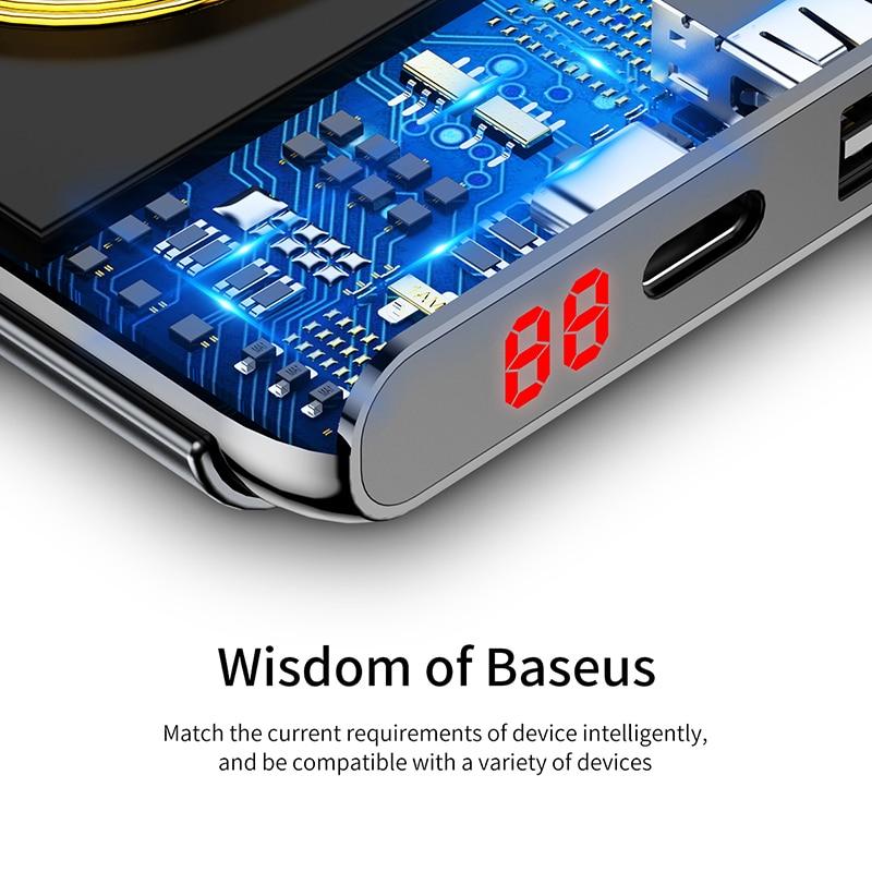 Baseus 10000 mah charge rapide 3.0 batterie externe Qi Sans Fil Chargeur Poverbank Pour iPhone Xiao mi mi USB C PD Rapide De Charge Powerbank - 5