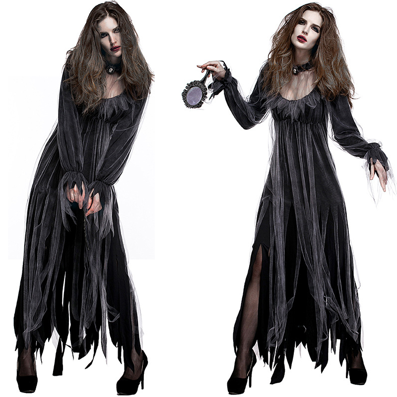 Halloween Cosplay Costumes Dresses Scary Vampire Zombies Costume Women Ghost Bride Carnival Masquerade Costume Black Fancy Dress