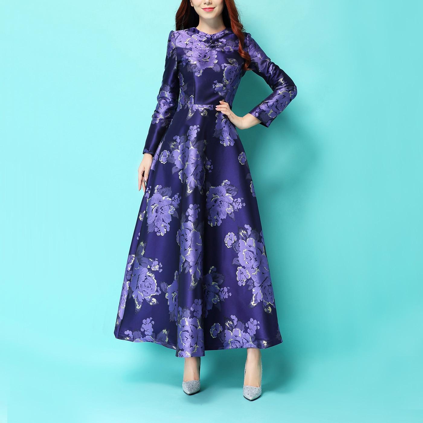 2017 automne hiver violet fleur imprimer femmes à manches longues Style chinois longue robe Slim Plua taille Maxi étage longueur robe