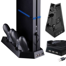 ALLOYSEED Game Console Cooling Station Vertical Gaming Cooling Stand With Dual Controller Charging Dock + USB/HUB Ports For PS4(China)