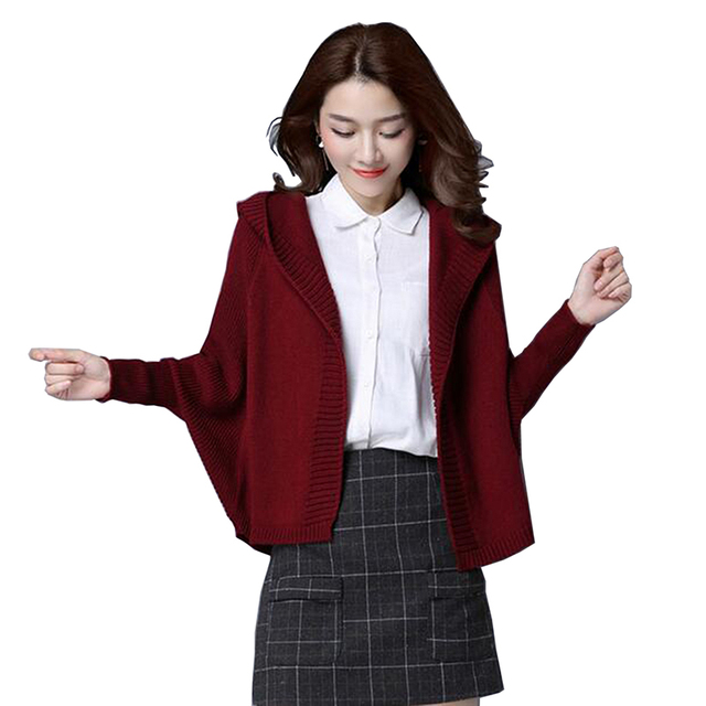 d61d536faece Suéter Chaqueta corta 2017 otoño nuevas mujeres de manga larga con capucha  suéter flojo Rebeca de