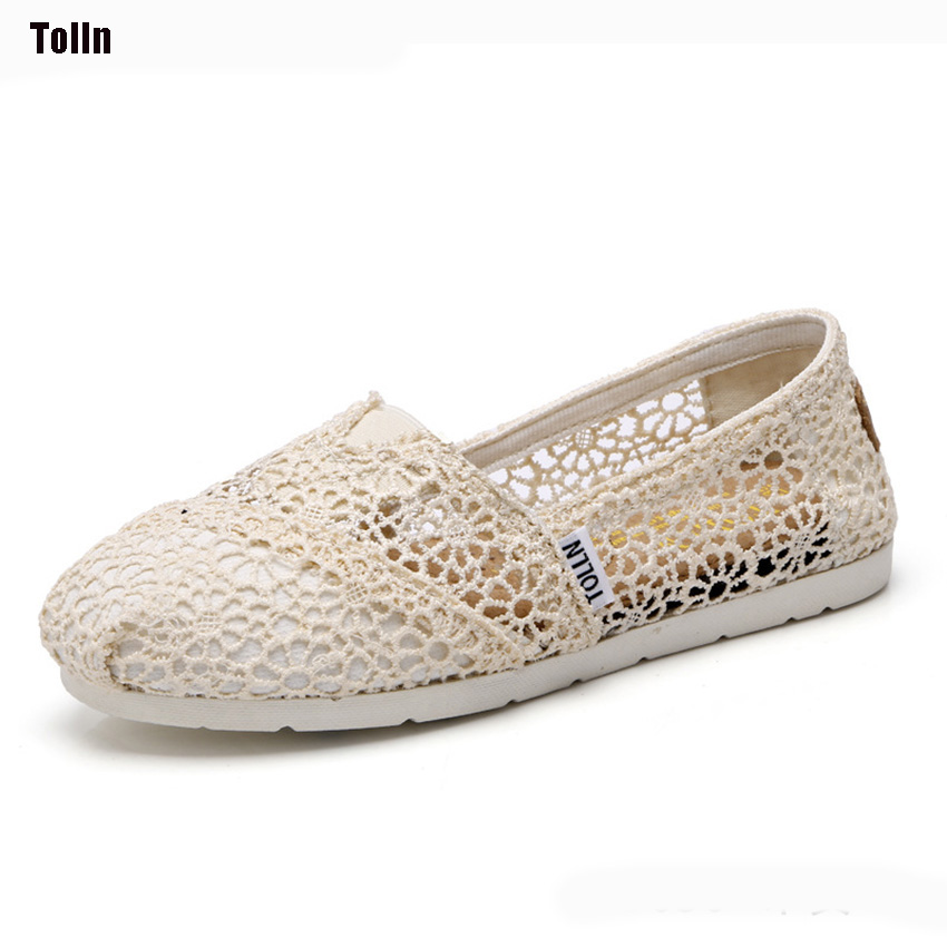 Tolln New Fashion Style Canvas Shoes Women Lace Hollow