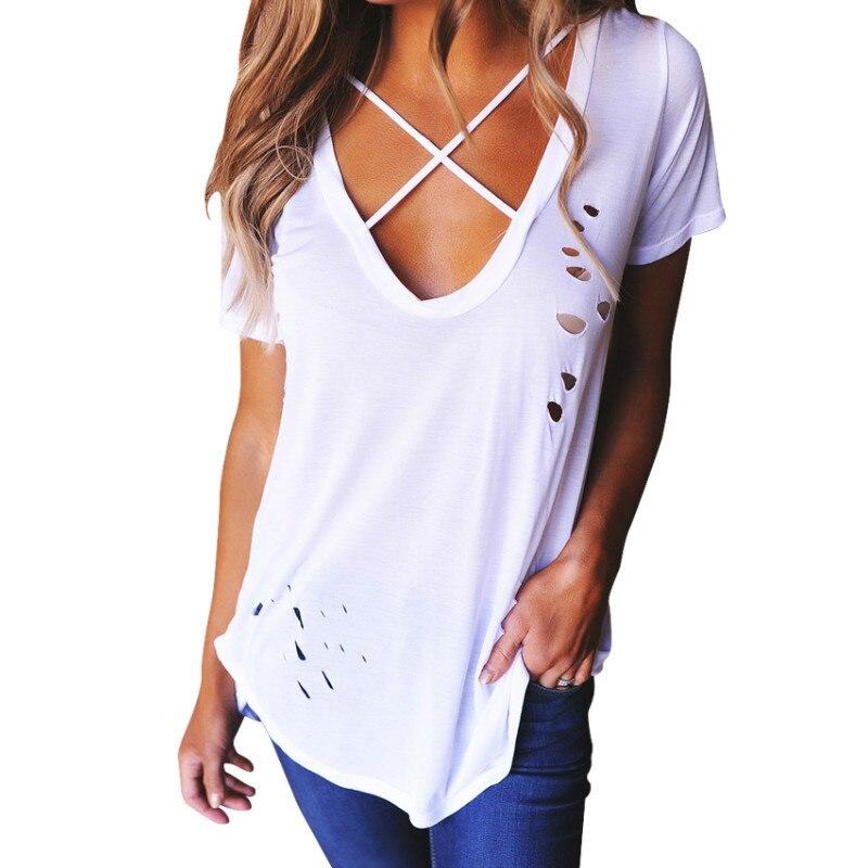 Summer Tops Women Sexy V-Neck Short Sleeve T-Shirtss