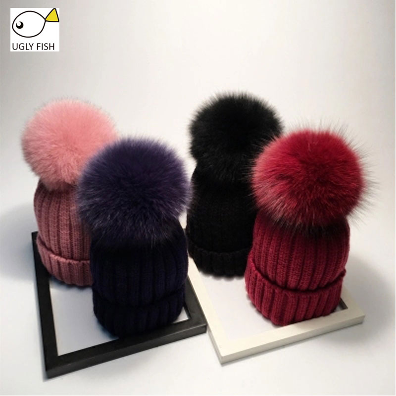 real pompom hat fur winter hats for women knitted beanie