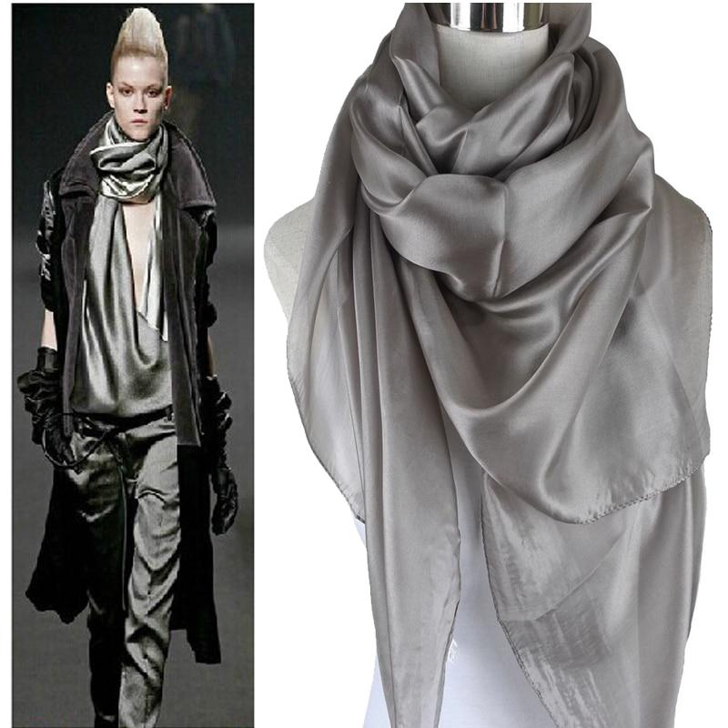 Ladies Mærke Grå Mulberry Silk Scarf Shawl 180 * 110cm Oversize Design Kvinde Halstørklæder Wraps Summer Sunshade Shawls Khaki Black