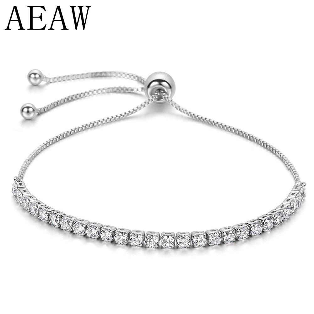 AEAW Platinum Plated Silver for Women Adjustable Chain Bracelet for Women 2.6CTW Moissanite EF Color VVS
