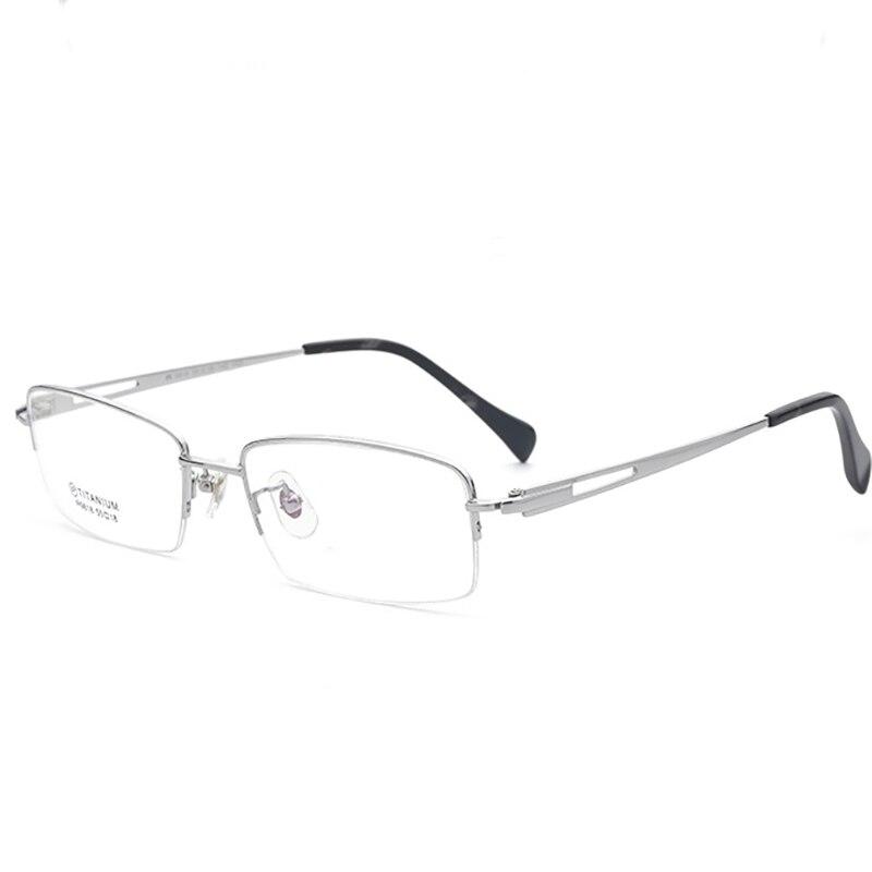 EOOUOOE Marque Hommes Optique Glasse 100% Pur Titane Opticas Pour Mâle Demi-Trame De Lunettes Oculos Lunettes Lunettes argent or noir