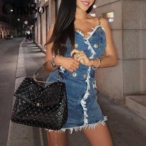 Image 3 - MissyChilli Vestido corto vaquero con cadena para mujer, Vestido corto vaquero con borla para mujer, ropa de calle sexi para fiesta y playa