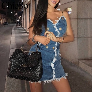 Image 3 - MissyChilli سلسلة الدنيم bodycon فستان أزرق صغير المرأة شرابة جان فستان قصير الصيف مثير ملابس الشارع الشهير فستان حفلة الشاطئ festa