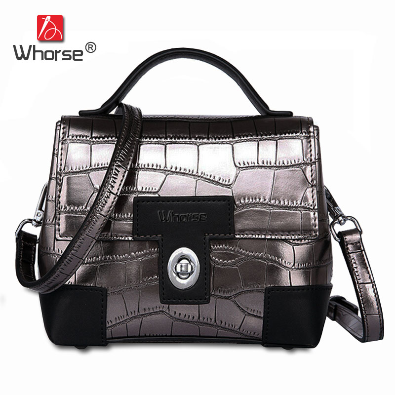 [WHORSE] Brand Genuine Leather Women Handbag Crocodile Pattern Small Female Shoulder Bag With Lock Ladies Messenger Bags W08570 paste genuine leather brand women clutch bags fashion crocodile pattern envelope shoulder ladies messenger handbag female gift