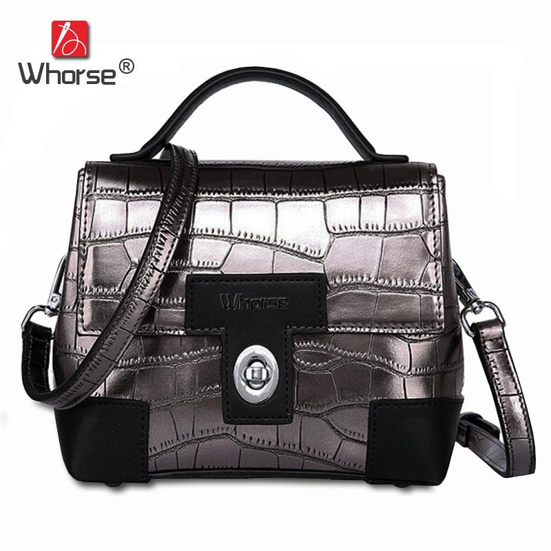 [WHORSE] Brand Genuine Leather Women Handbag Crocodile Pattern Small Female Shoulder Bag With Lock Ladies Messenger Bags W08570 стоимость
