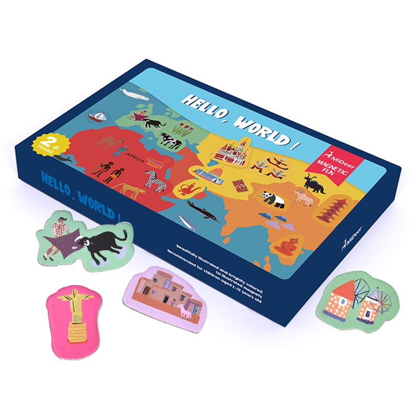 Kid's Magnetic World Map Montessori Materials Educational Toys For Children Magnet World Cultural Cognition Puzzles oyuncak