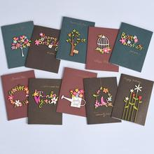 10pcs Vintage Wood Carving Patch Mini Blessing Thank You Greeting Card Birthday Christmas Envelope Writing Paper Stationery