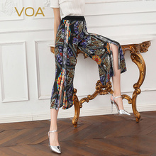 цена VOA 100% Silk Palazzo Wide Leg Pants Women Casual Boho Print Cropped Trousers Mid Waist Fashion Harajuku Streetwear Luxury K709 в интернет-магазинах