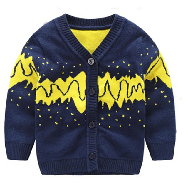 Warm Cotton Children Sweater Boy V-neck Long Sleeve Cardigan Tee Toddler Vest Baby Clothing