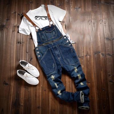 2018 ชาย Hip Hop Slim สีดำ Denim Jumpsuits ผู้ชายฤดูใบไม้ร่วงกางเกงยีนส์ Overalls vintage ชาย Suspender กางเกง-ใน ยีนส์ จาก เสื้อผ้าผู้ชาย บน   1