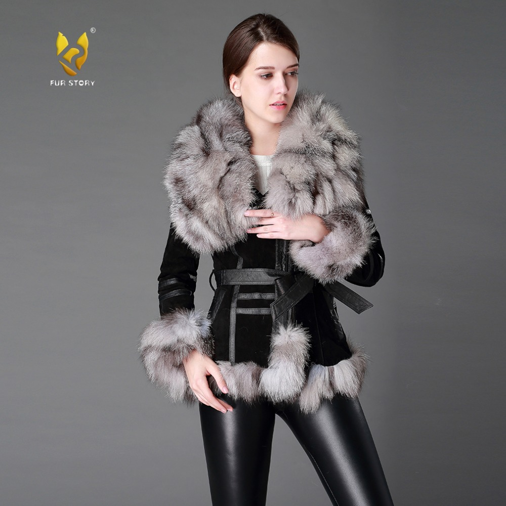 13055 Women's Coats Genuine Leather Coat Fox Fur Collar Trim Sleeve Cuff 5XL Plus Size Natural Fur Jackets Women