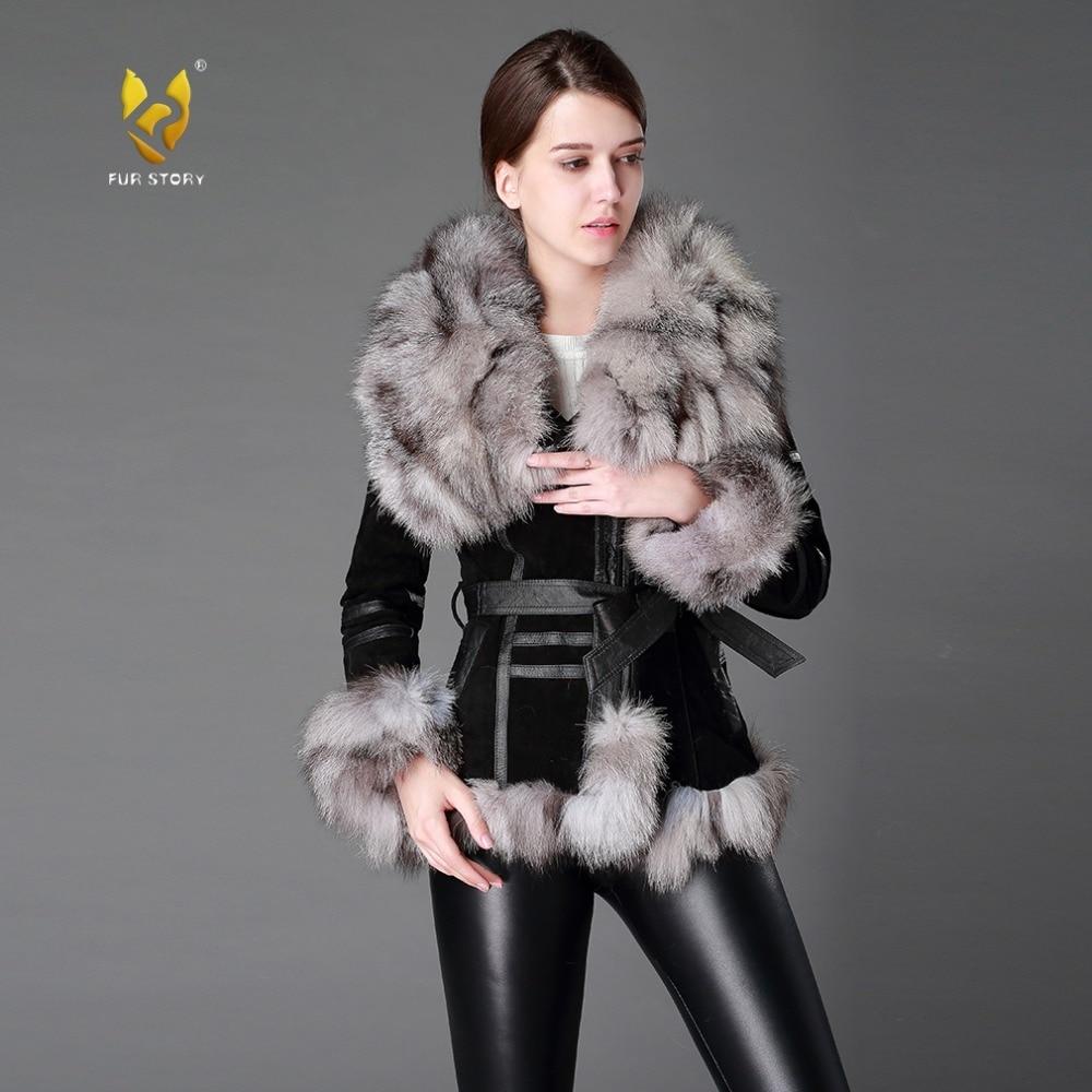 13055 Women's Coats Genuine Leather Coat Fox Fur Collar Trim Sleeve Cuff 5XL Plus Size Natural Fur Jackets Women