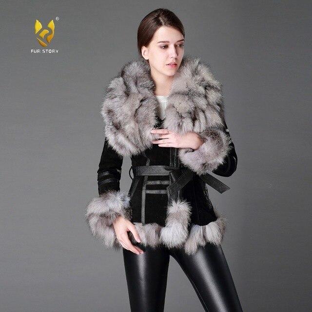 fac291c28e5b4 Fur Story 13055 Women s Coats Genuine Leather Coat Fox Fur Collar Trim  Sleeve Cuff 5XL Plus Size Natural Fur Jackets Women