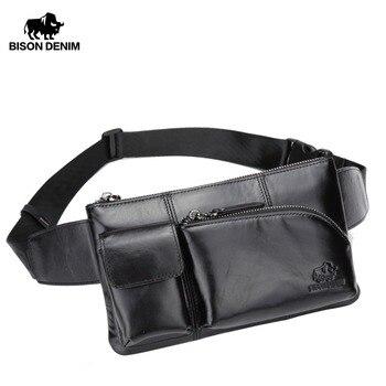 BISON джинсовые мужские кожаные сумки поясная сумка Cowskin мужской нагрудный ремень сумка мешочки для телефона на молнии карман дорожные сумки ... >> BISON DENIM Official Store