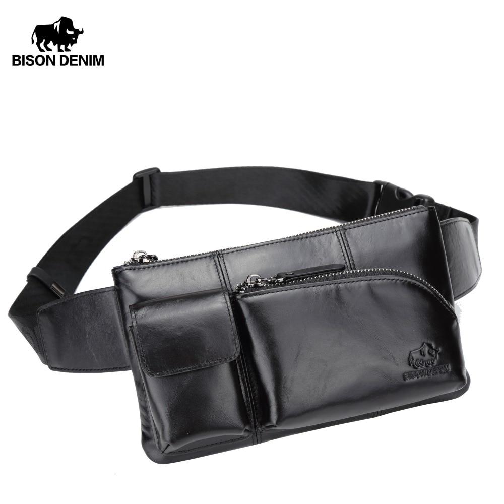 Bison denim sacos de couro dos homens pacote cintura cowskin masculino peito cinto saco do telefone bolsa sacos zíper bolso viagem crossbody sacos w2444