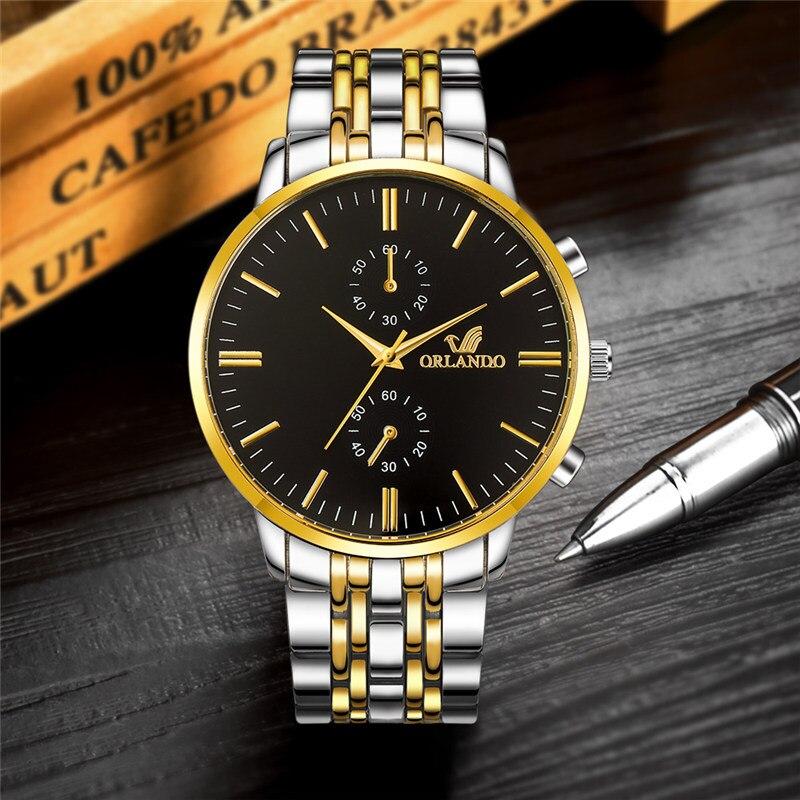 3b4ee5cfa ORLANDO Men Watches Luxury Gold Watches Men Stainless Steel Watch Mens  Watches Quartz Fashion Business Watch