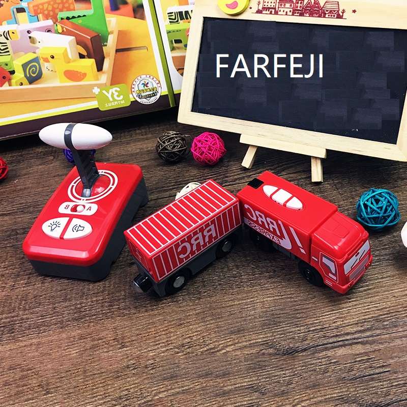 FARFEJI Red Remote Controlled Train Electric Rc Toys For Children Wooden Tracks Control
