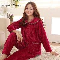 2016 New Arrival Winter Sleepwear Women Pajamas Flannel Plus Size 100 Polyester Full Sleeve Long Pants