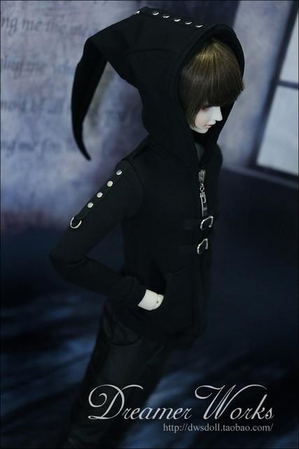 1/3 1/4 bjd coat 1/3 Sd bjd doll clothes punk coat zipper sweater ,
