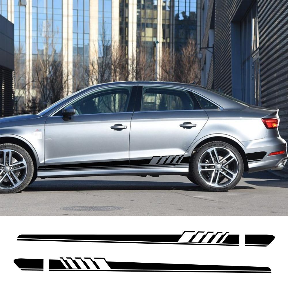 2 PCS Saia Lateral Porta Do Carro Adesivo Para Audi A4 B5 B6 B7 B8 B9 A3 8 P 8 V 8L A6 C6 C5 C7 4F A5 A1 8X A7 A8 Q5 Q7 Q3 Q1 TT Acessórios
