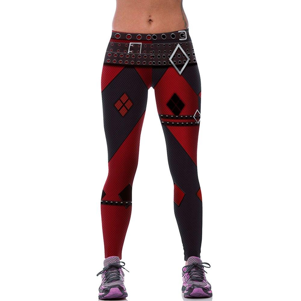 New Fashion Women Leggings 3D Printed Imitative Punk Rock Belt Legins Leggins Workout Pant Legging Harley Quinn Sexy Low Waist