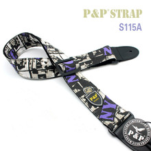 High Quality Jacquard Guitar Strap with Leather Ends Adjustable Buckle Electric Guitar Acoustic Strap Color cowboy rock