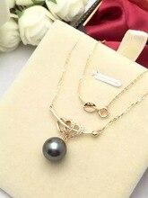 Diamond Setting Tahiti Black Pearl Pendant Necklace Double Hearts and Arrow Natural Diamond Handmade Jewelry